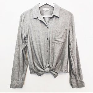 Madewell Flannel Tie Front Shirt heather M